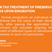 Align tax treatment of preservation funds upon emigration